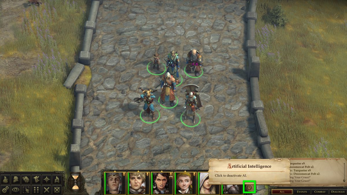 Normal view in Pathfinder: Kingmaker with highlighted AI button for group members