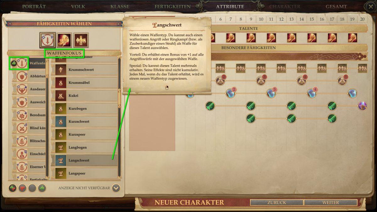 Fähigkeiten und Talente in Pathfinder: Kingmaker