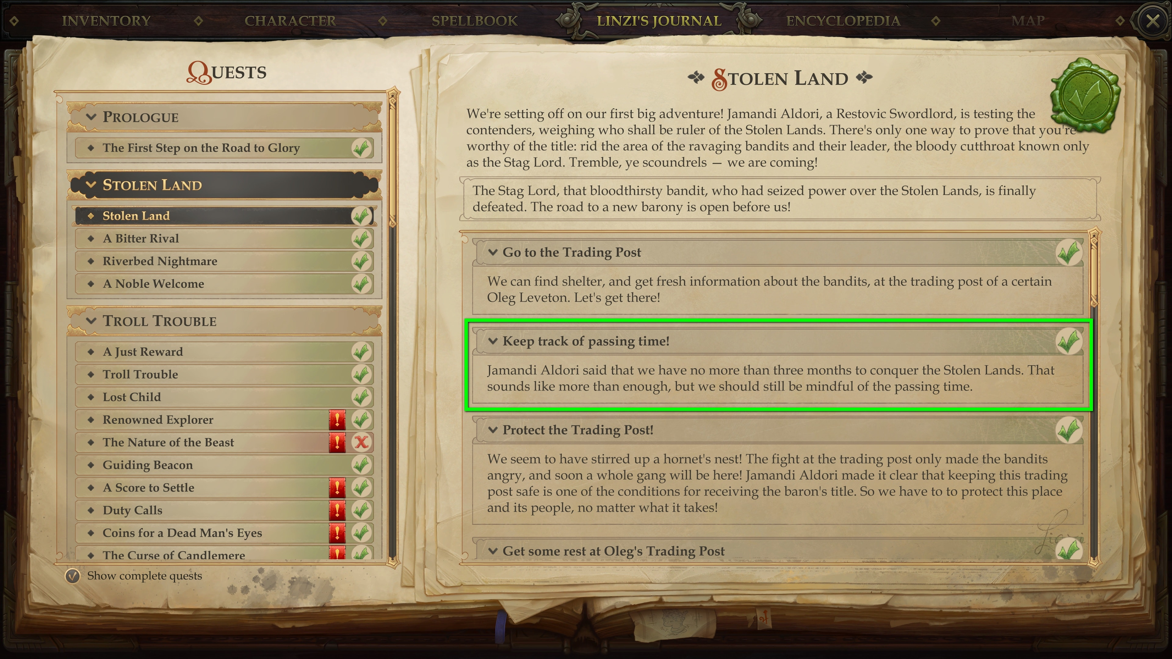It's really not that hard to keep track of time and quests. © Owlcat Games