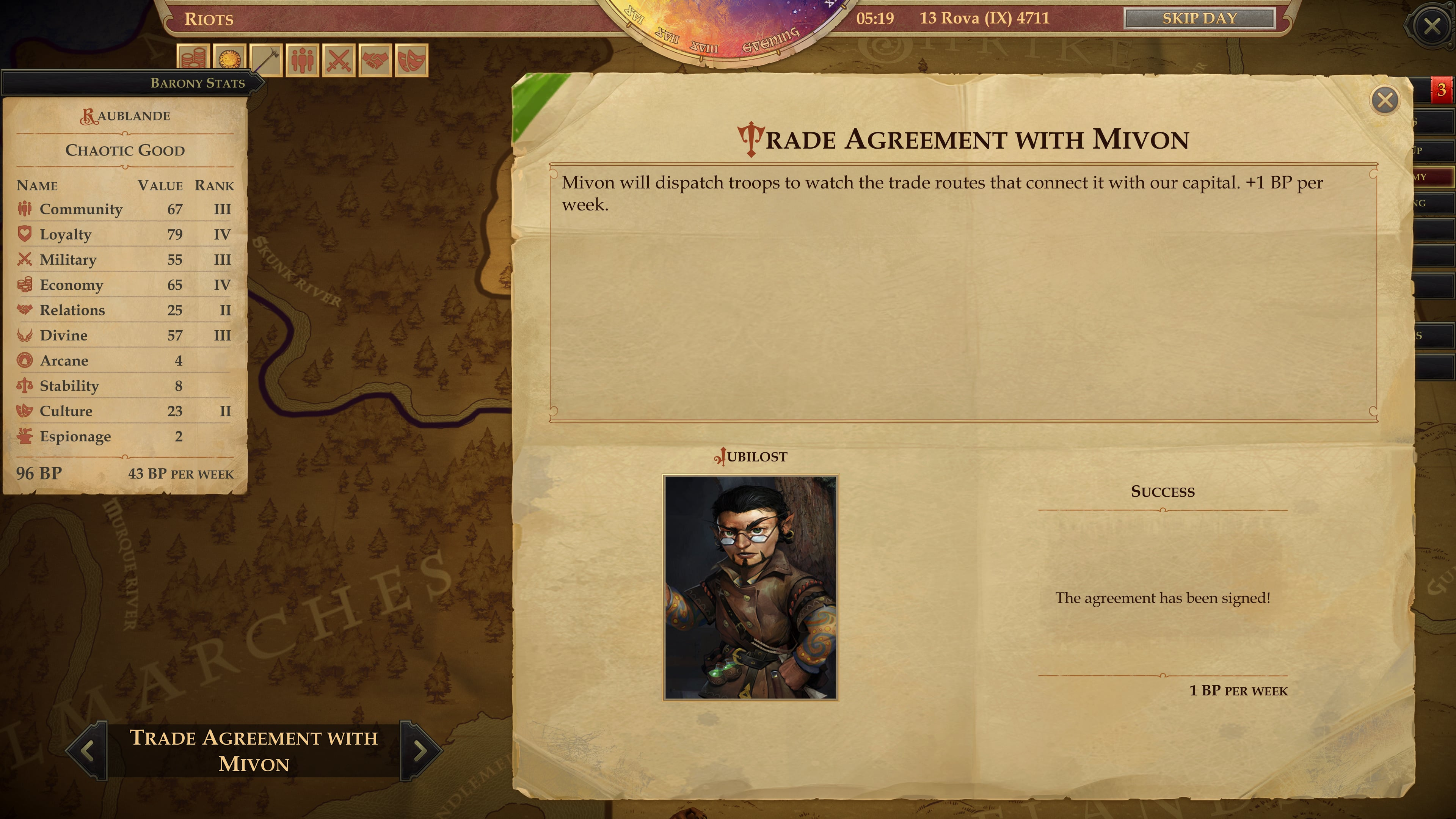 Trade agreements increase our weekly building point income. © Owlcat Games