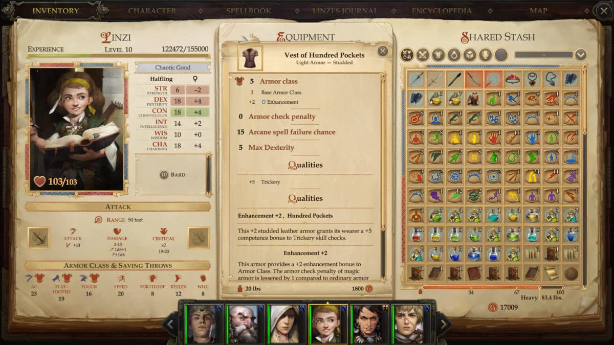 The Vest of Hundred Pockets and its values, in Linzi's inventory in Pathfinder: Kingmaker