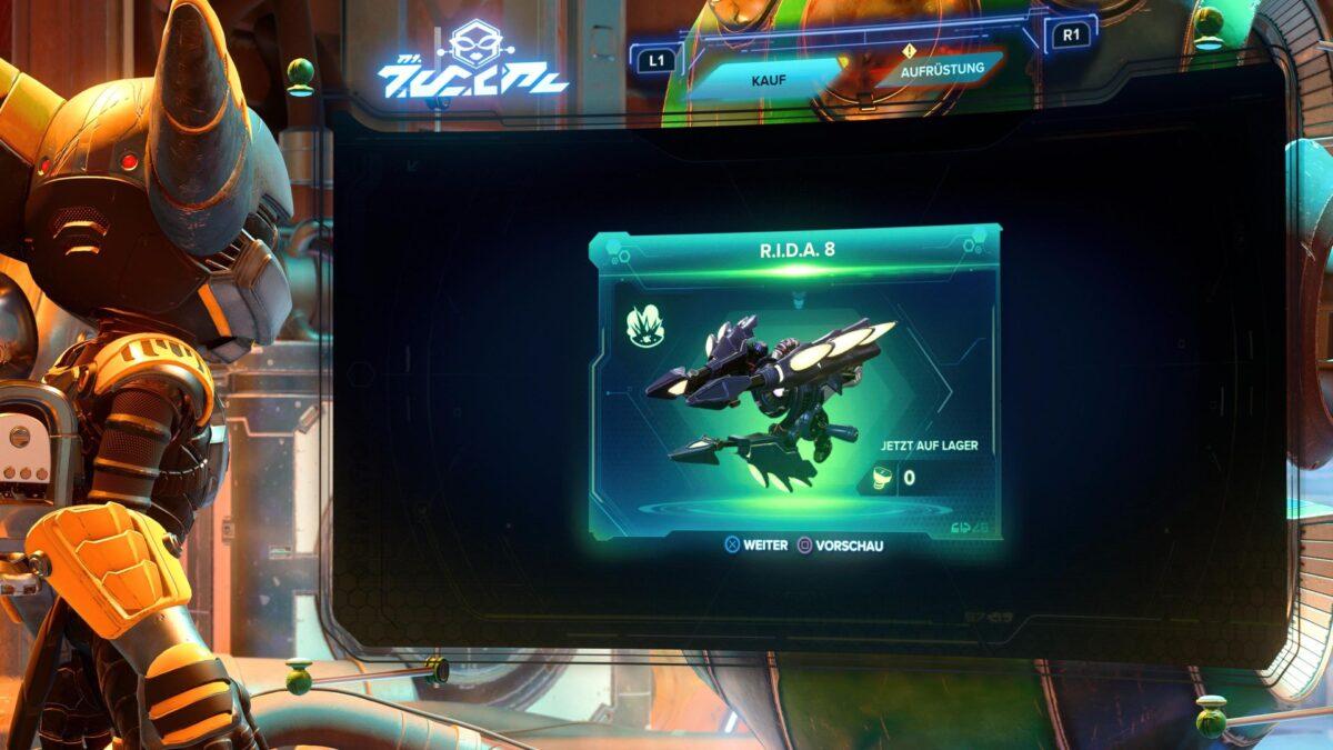 Die Super-Waffe R.I.D.A. 8 im PS5-Spiel Ratchet & Clank: Rift Apart.