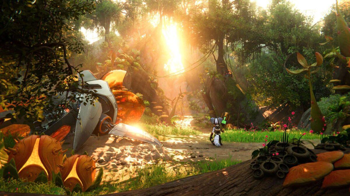 Eine Landschaft im PS5-Spiel Ratchet & Clank: Rift Apart.