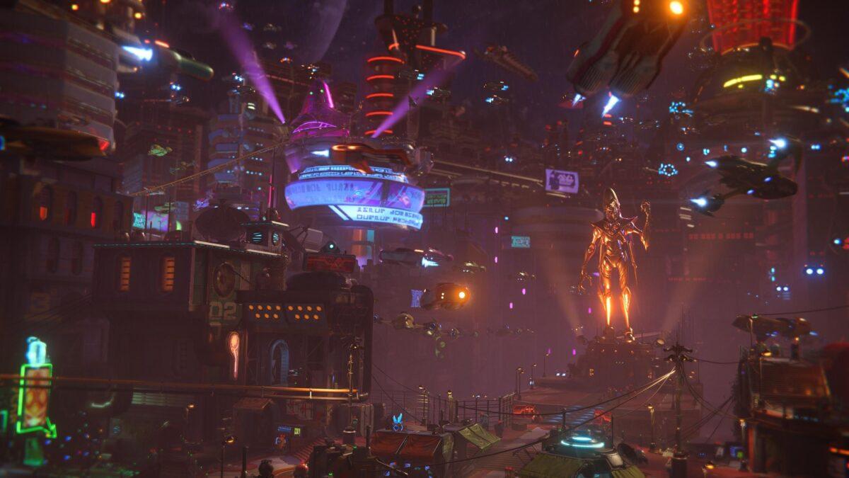 Die Cyberpunk-Stadt Nefarious City im PS5-Spiel Ratchet & Clank: Rift Apart.