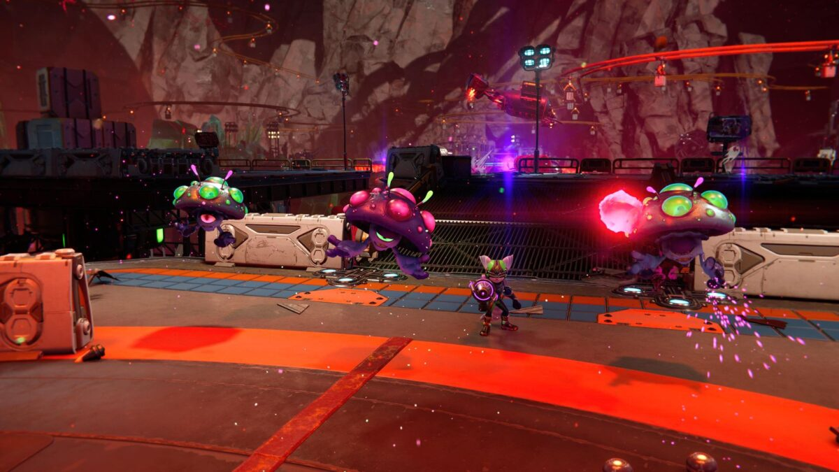 Die Partypilze im PS5-Spiel Ratchet & Clank: Rift Apart.