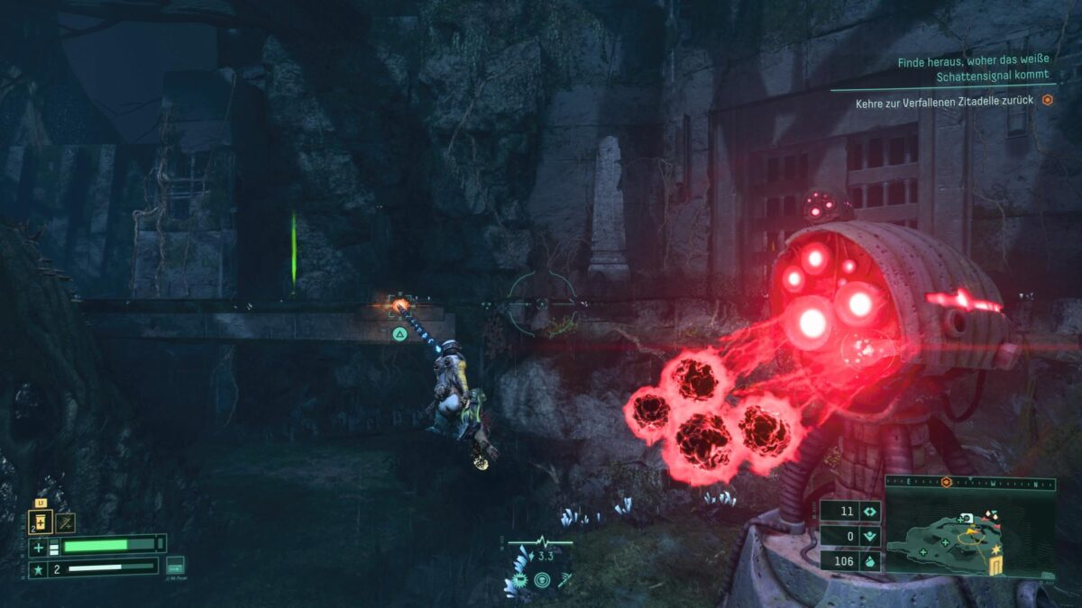 Selene dodges a salvo of fire from the Atropian Turret in Returnal.