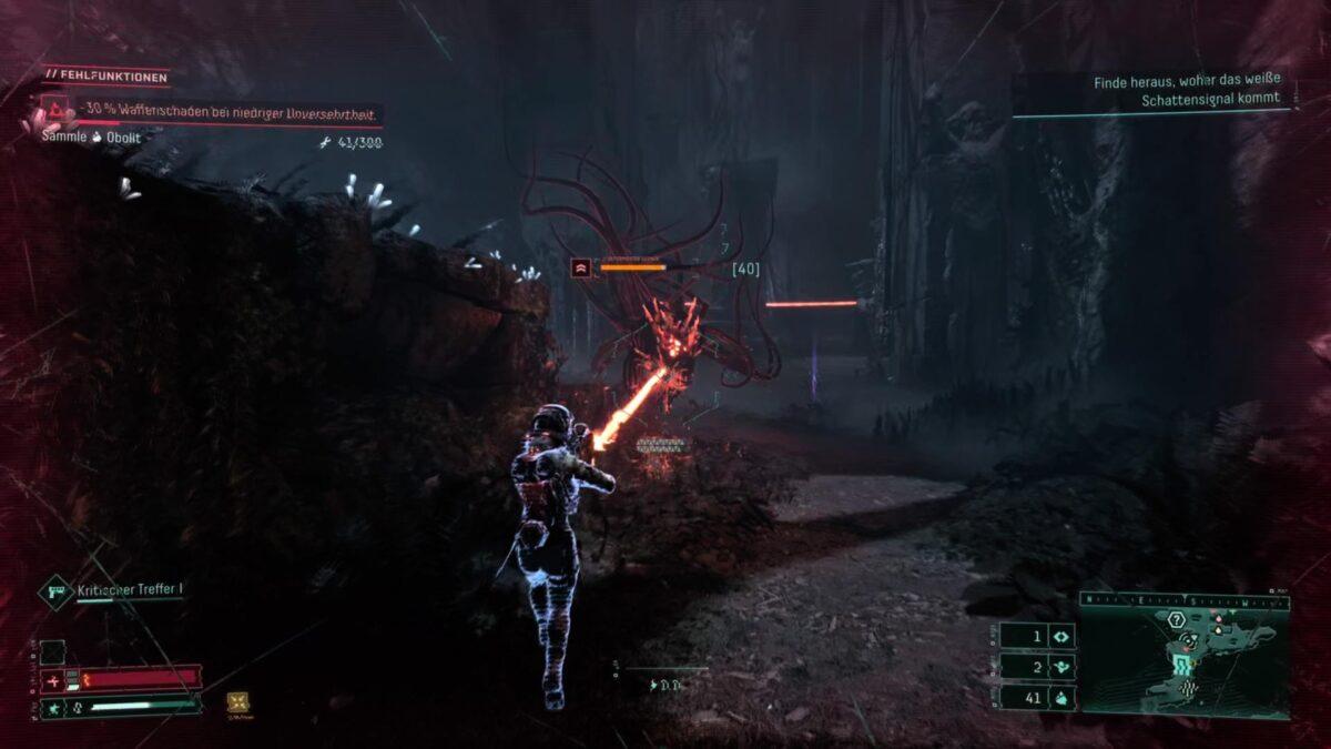 A malformed Kerberonyx attacks Selene in Returnal.