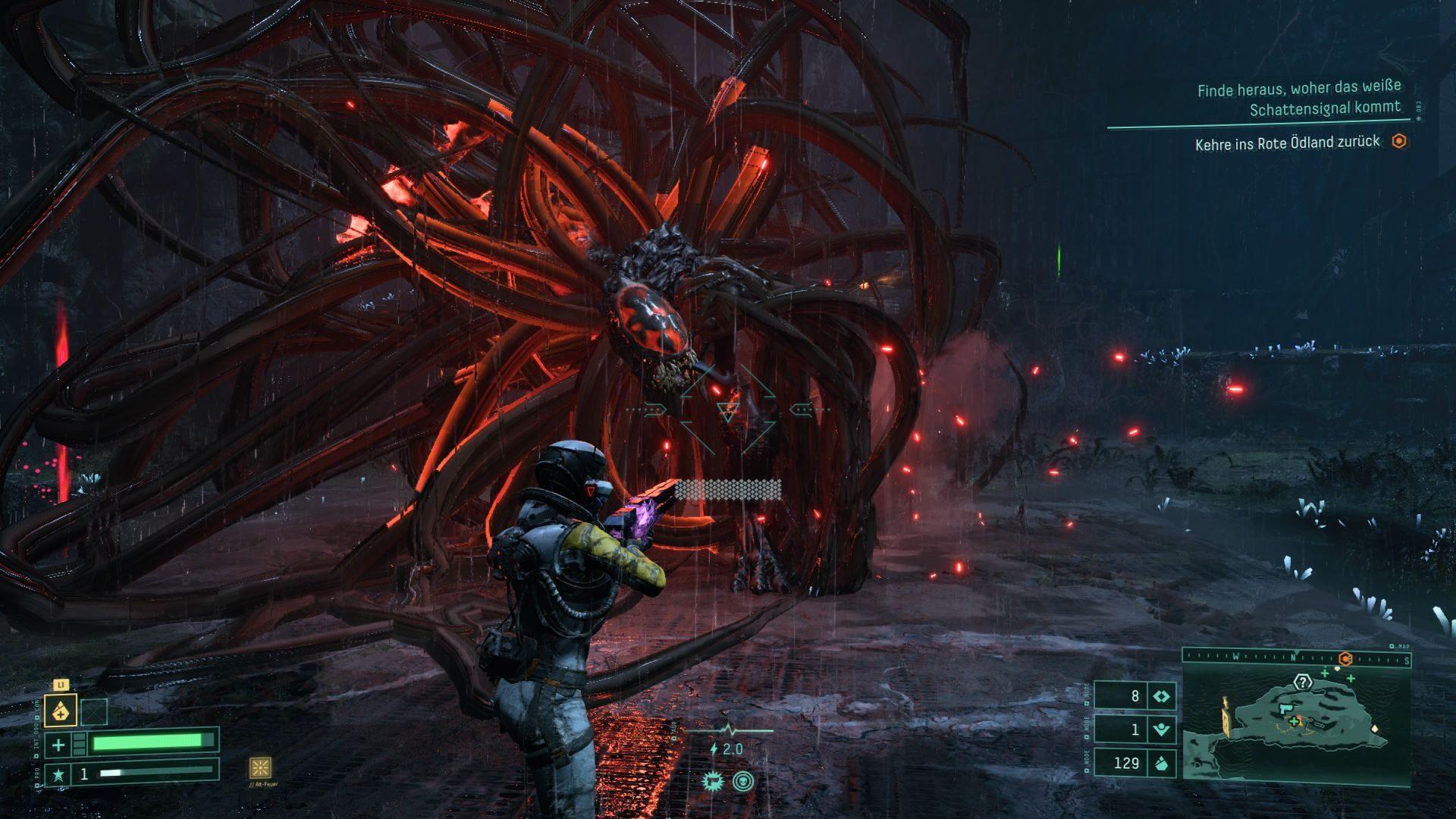 An extraterrestrial monster attacks astronaut Selen in Returnal.