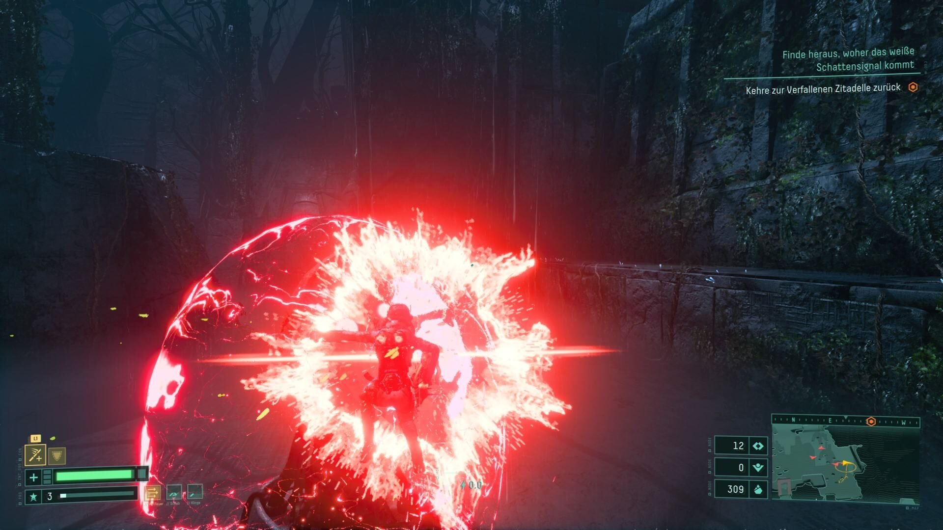 Selene uses the Atropian Blade in the PS5 game Returnal.