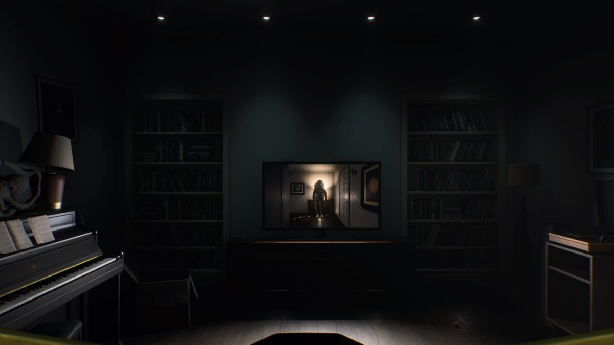 Selene sees an astronaut in her house in the PS5 game Returnal.