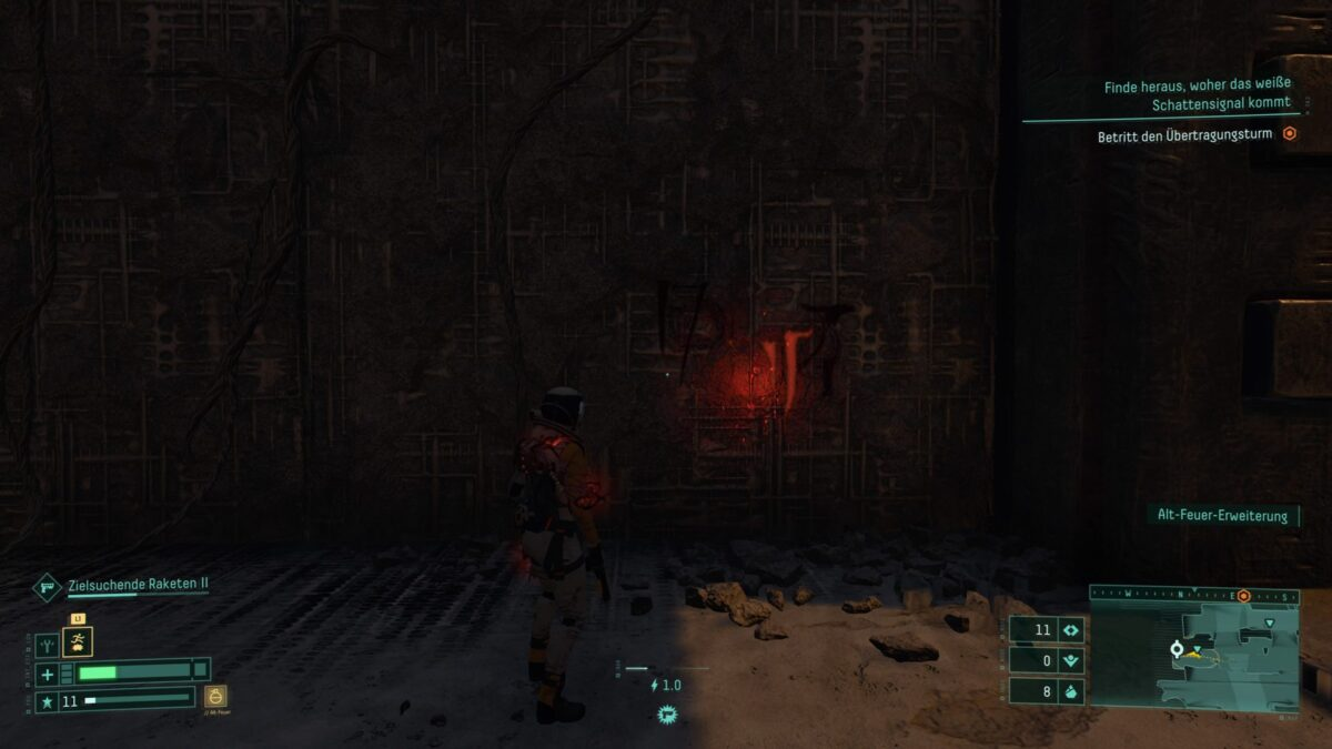 Xenoglyph Ciphers on a wall in the PS5 game Returnal.