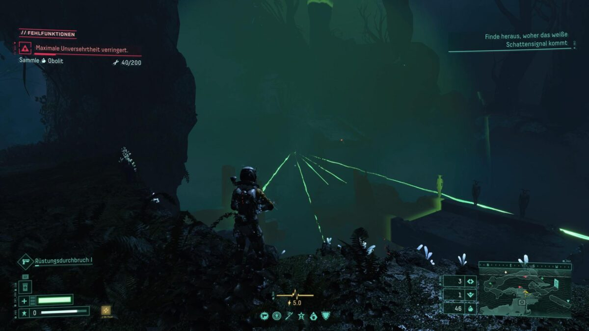 Selene faces green rays in the PS5 game Returnal.