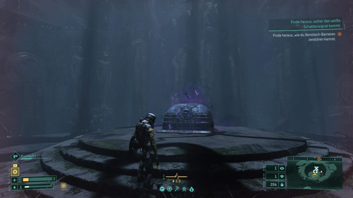 A container infected with Malignancy in the PS5 game Returnal.