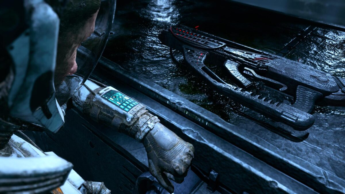 Selene finds a new Xenotype Weapon in the PS5 game Returnal.