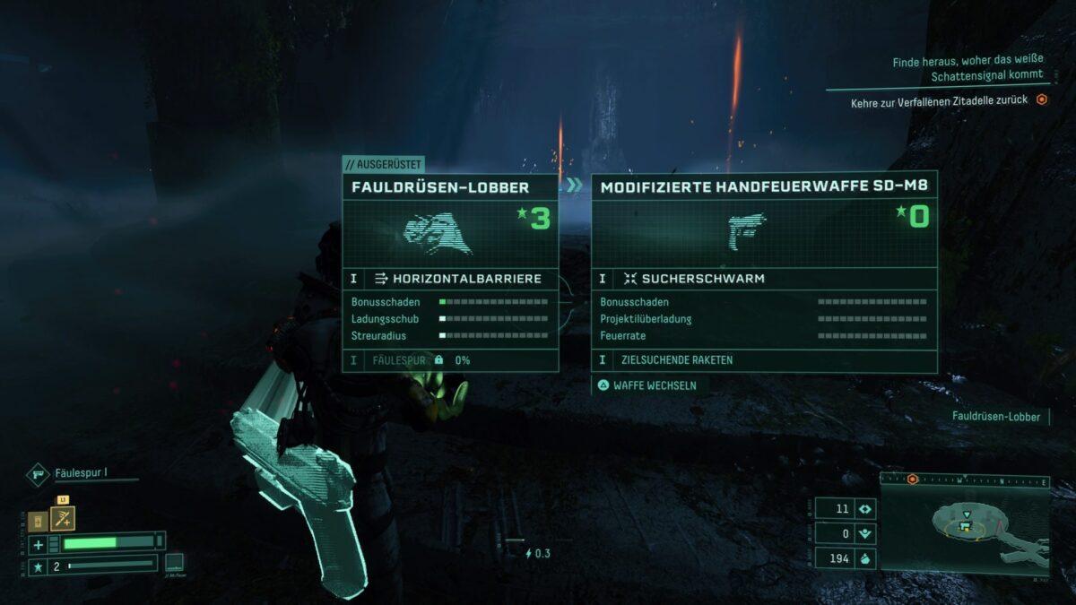 Ein Waffenvergleich im PS5-Spiel Returnal.