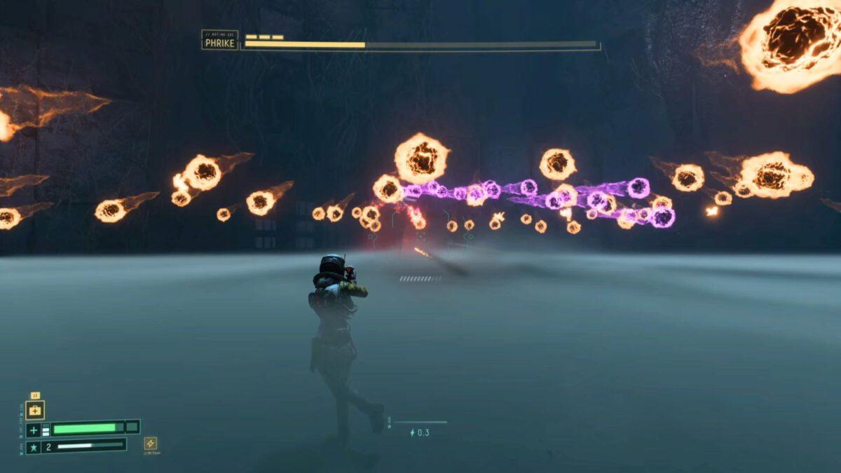 Selene fights Boss Phrike and his gliding energy balls in Returnal.