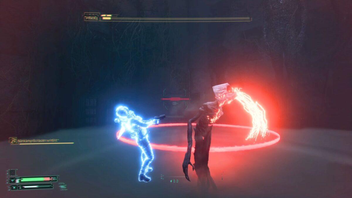 Boss Phrike hits Selene in Returnal with a slash.