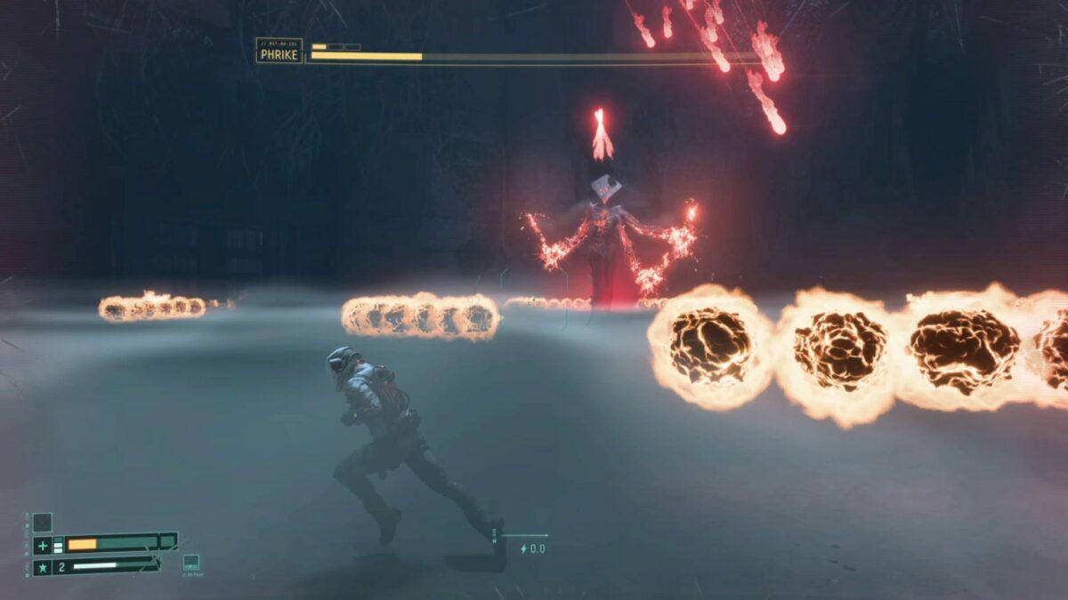 Boss Phrike sends red homing energy shrapnel towards Selene in Returnal.