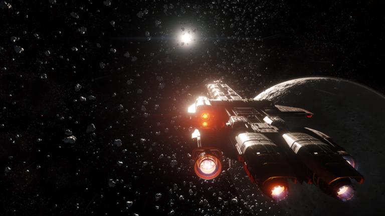 Frachtschiff Caterpillar in Star Citizen vor einem Asteroidenfeld