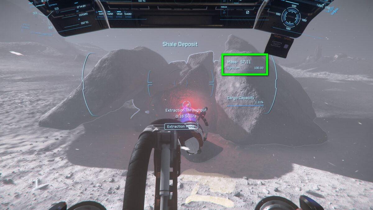 Mining-Laser in Star Citizen extrahiert Material aus einem Felsbrocken
