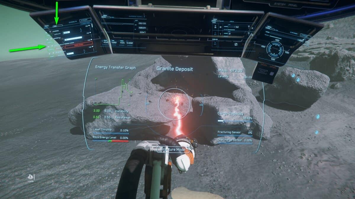 Prospector beim Mining mit übertaktetem Mining Laser