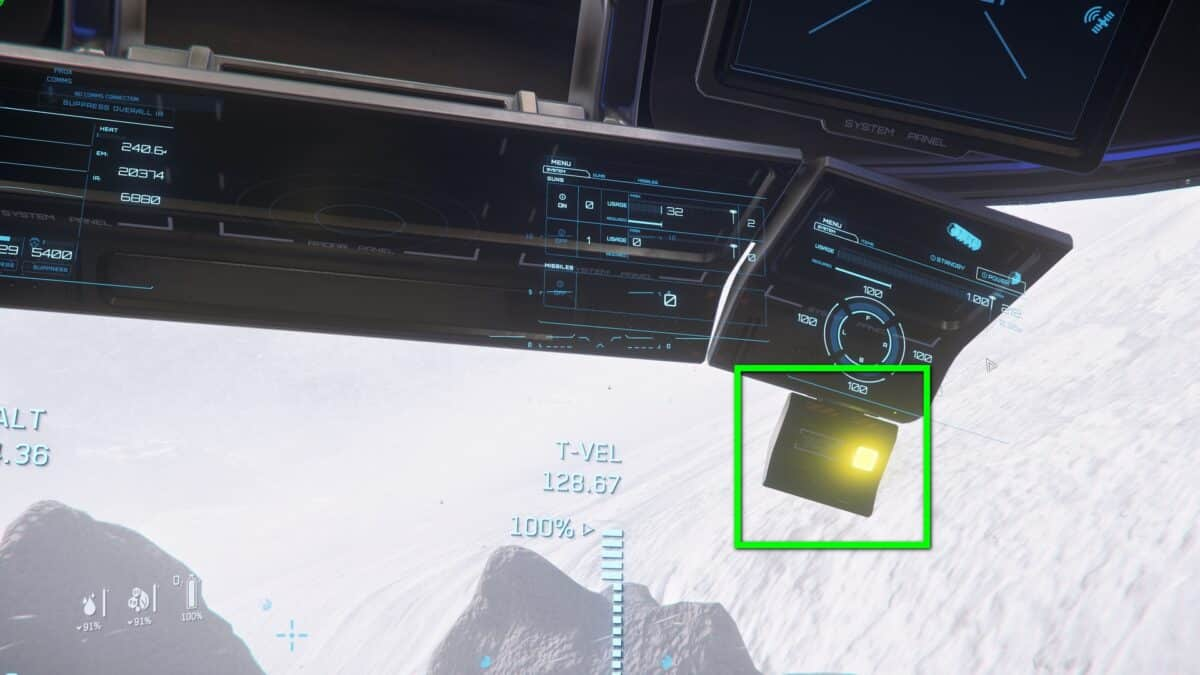 Panel für instabile Fracht in der Prospector in Star Citizen