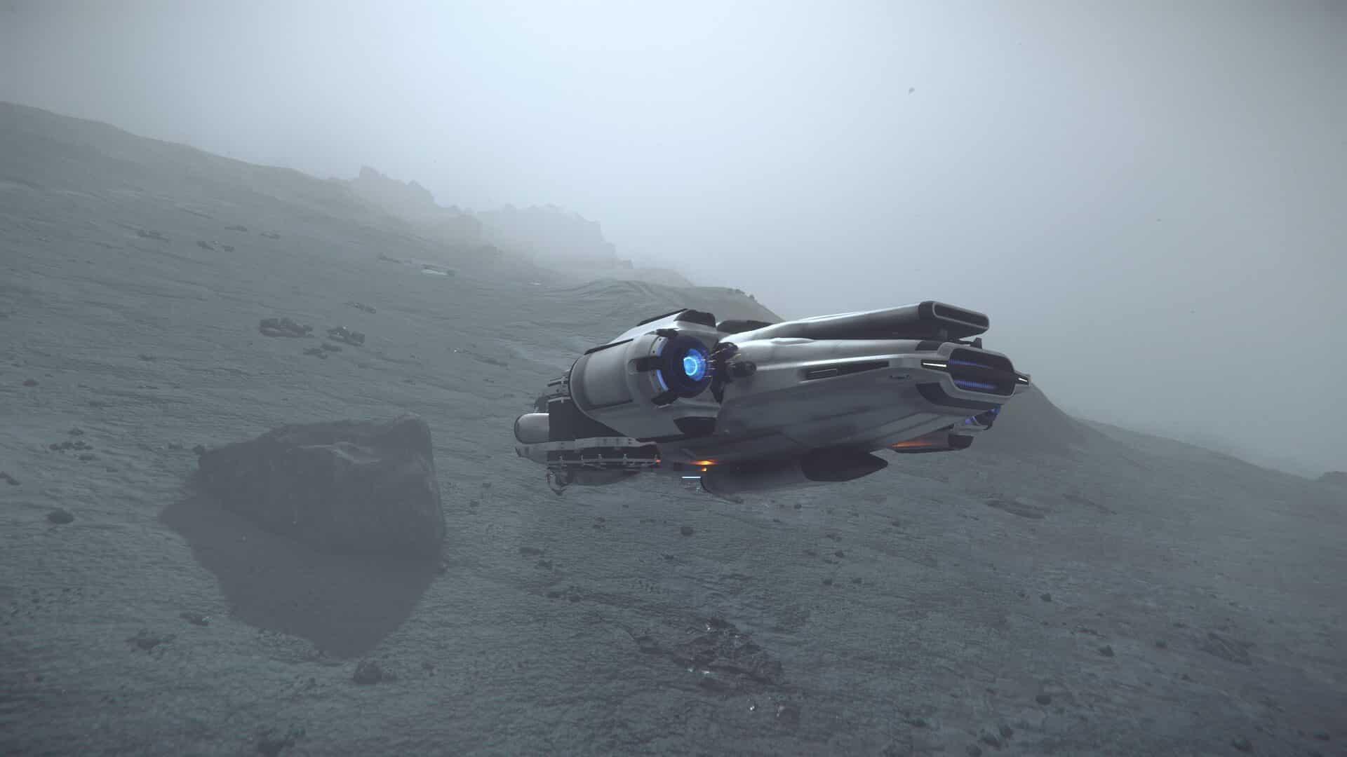 Prospector im Nebel auf einem Mond in Star Citizen