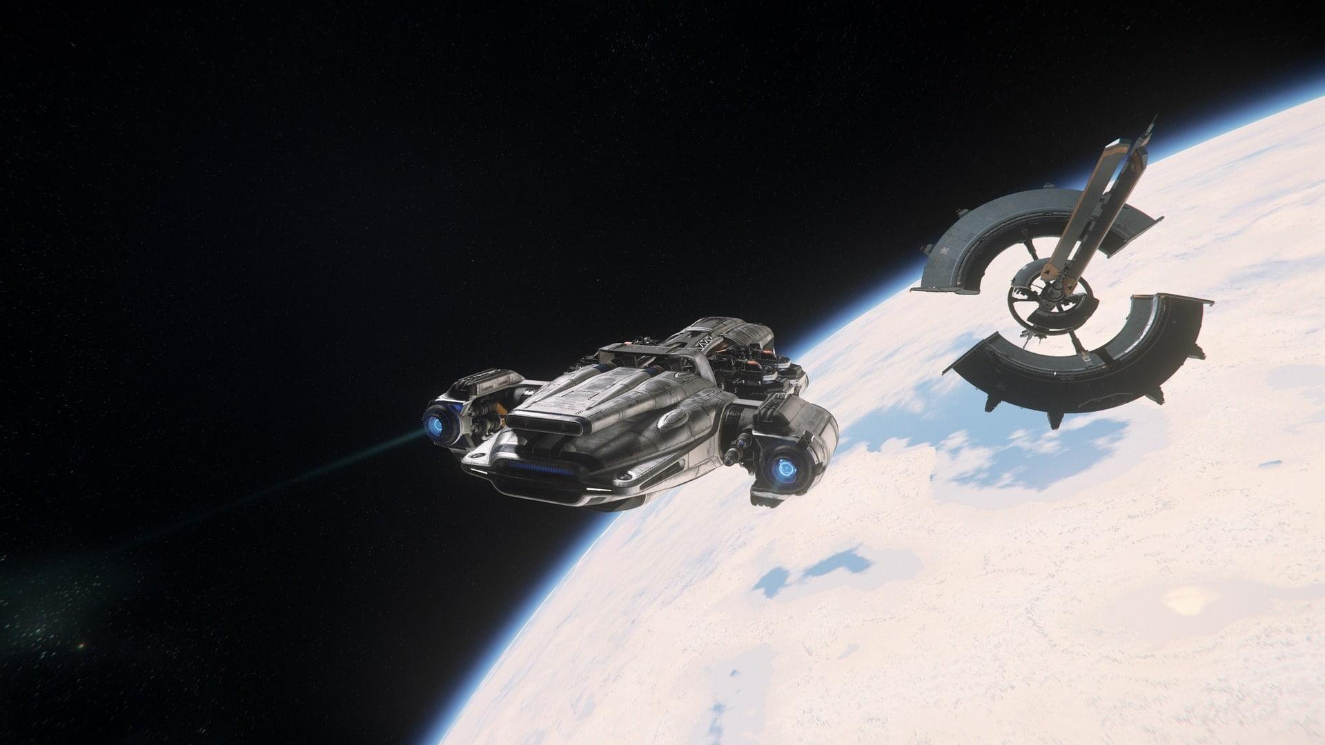 Raumschiff Prospector im Anflug auf Raumstation Port Tressler über dem Planeten MicroTech