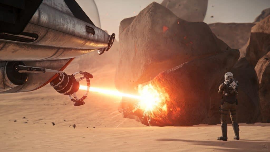 Die Prospector zu landen ist eine gute Strategie, um den Mining-Laser zu stabiliseren. © Cloud Imperium Games / Mr. Hasgaha (https://www.flickr.com/photos/hasgaha/)