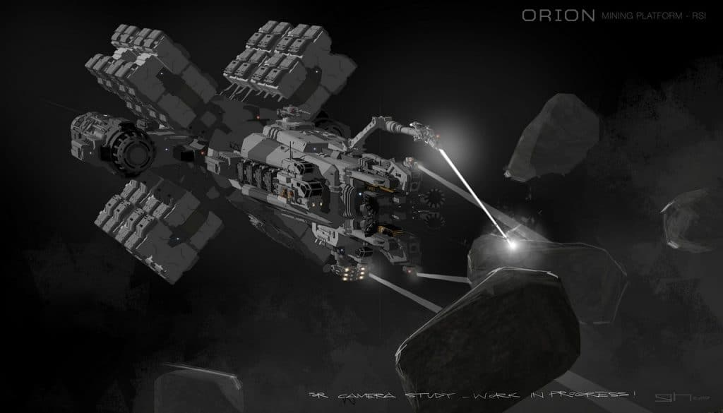 Mit mehreren Mining-Lasern an Roboterarmen soll die Orion gleich mehrere Asteroiden bearbeiten können. © Cloud Imperium Games