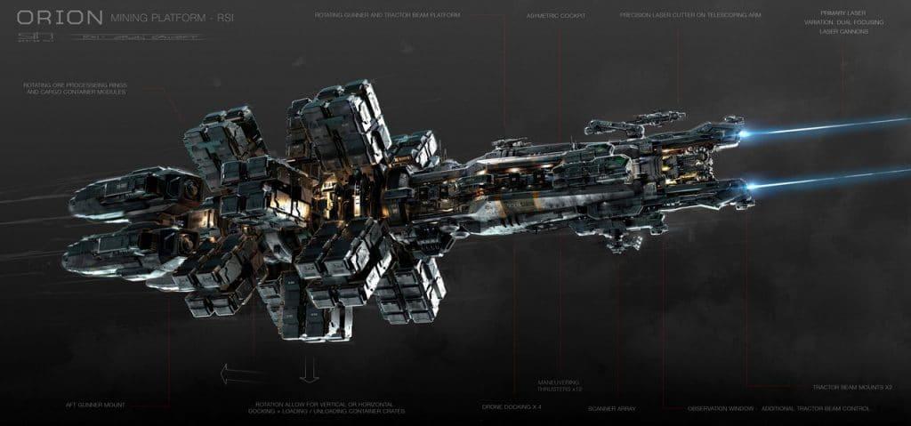 Das Konzept der Bergbau-Pplattform RSI Orion. Dieses Raumschiff hebt Mining auf ein ganz neues Level. © Cloud Imperium Games