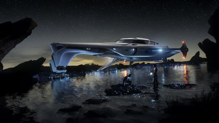 Raumschiff Origin 400i in Star Citizen, gelandet, davor Charaktere bei der Untersuchung von Gegenständen in einem Flussbett