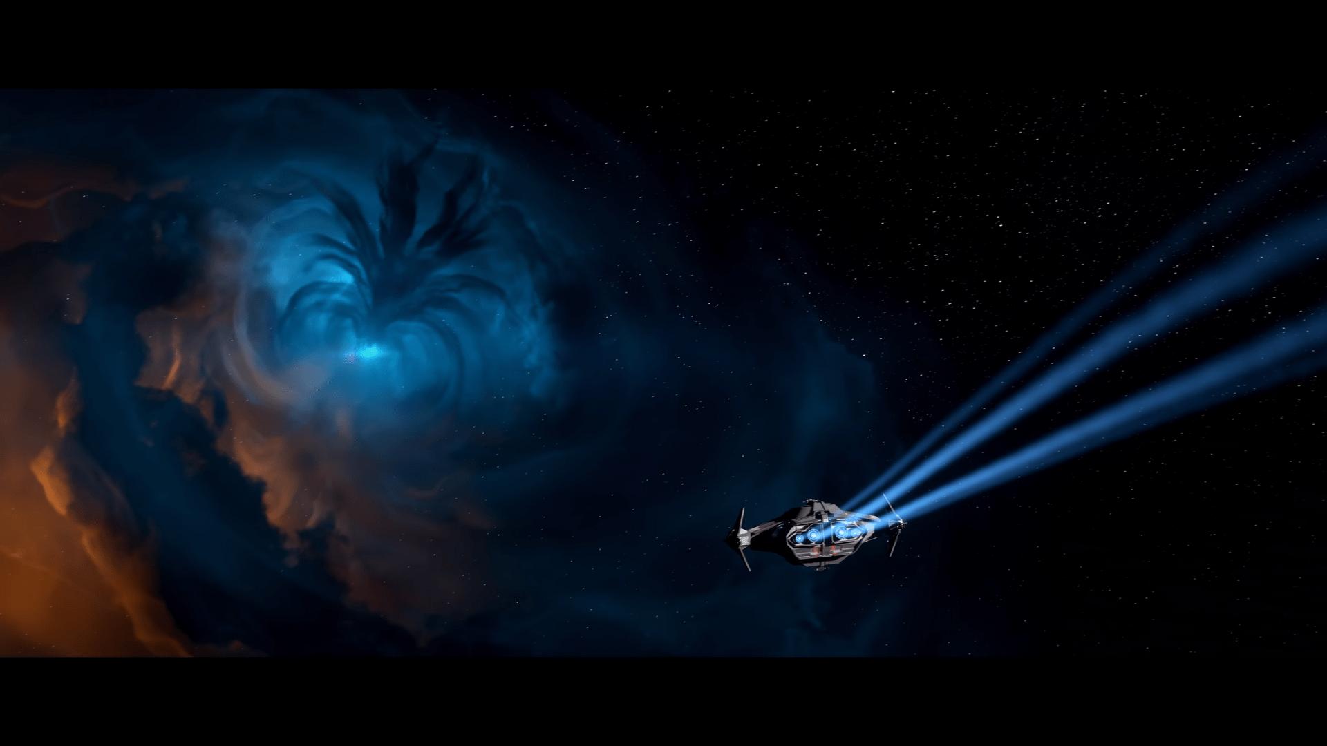 Anflug eines Raumschiffs auf eine blaue Gaswolke in Star Citizen