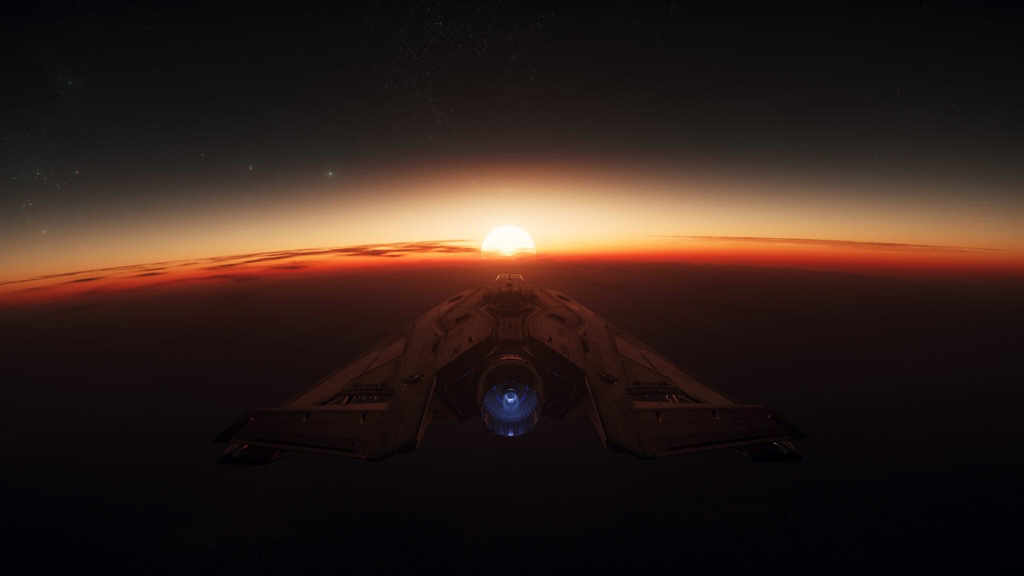 Star Citizen Arrow Atmosphäre Hurston Sonnenuntergang