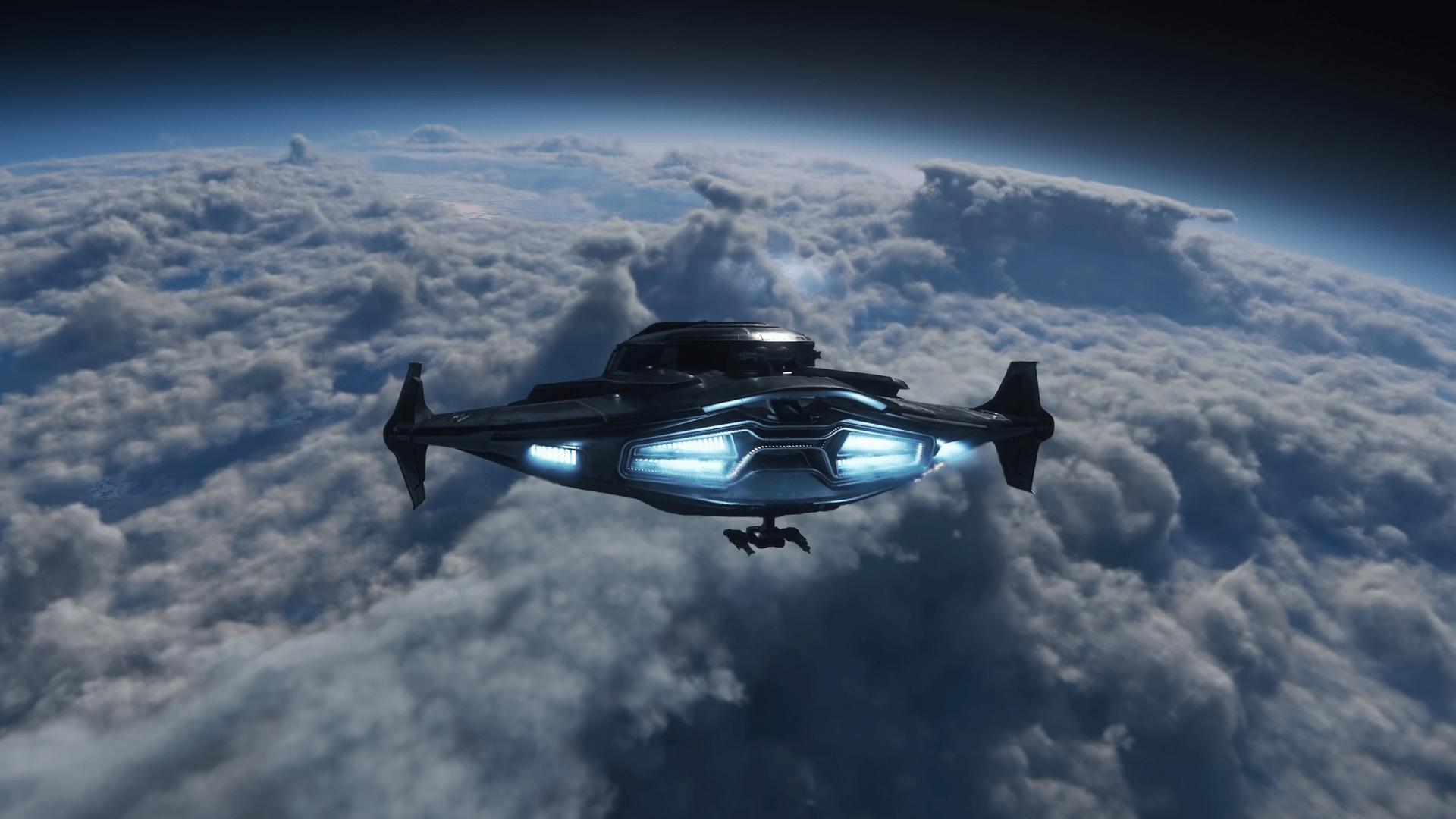 Raumschiff in Star Citizen fliegt auf realistische Wolkendecke über dem Planeten Pyro 3 zu