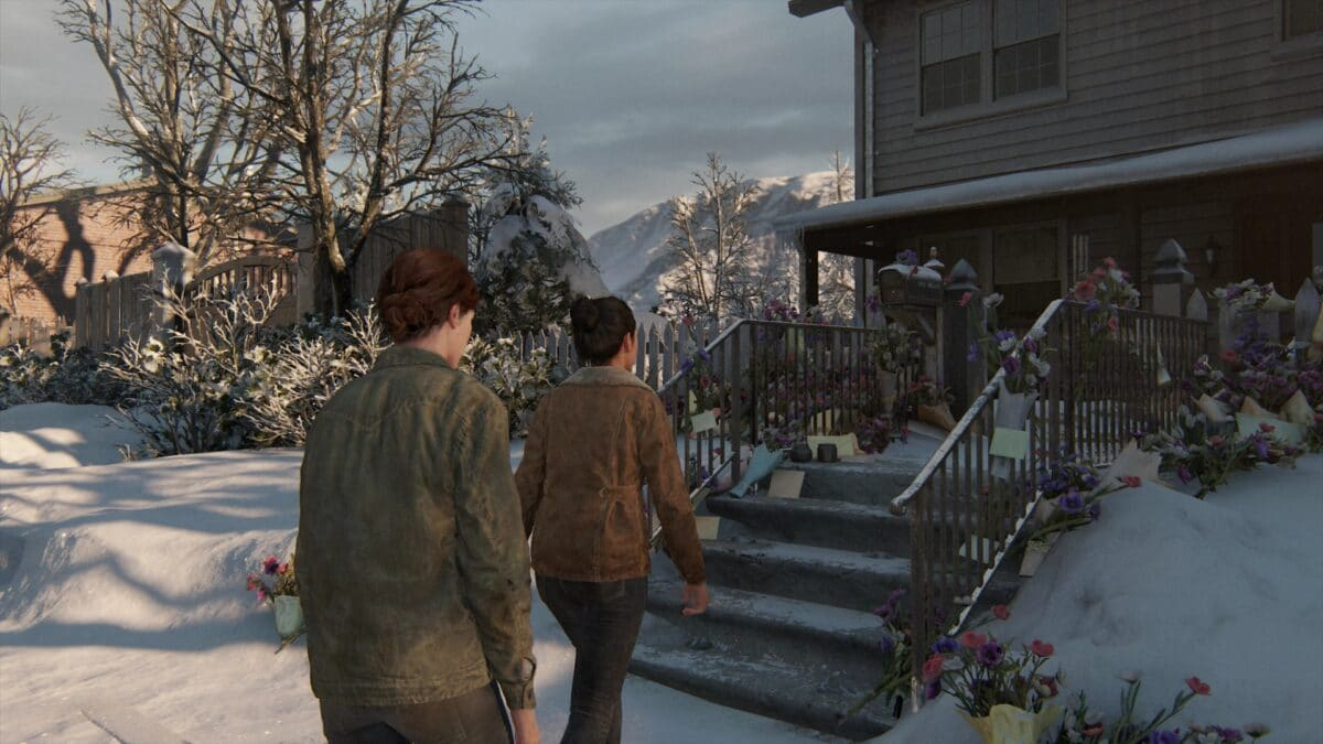 Ellie und Dina gehen auf Joels Haus in The Last of Us 2 zu