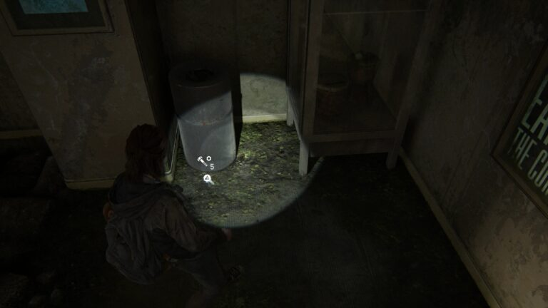 Upgrade parts in front of a trashcan in The Last of Us 2.