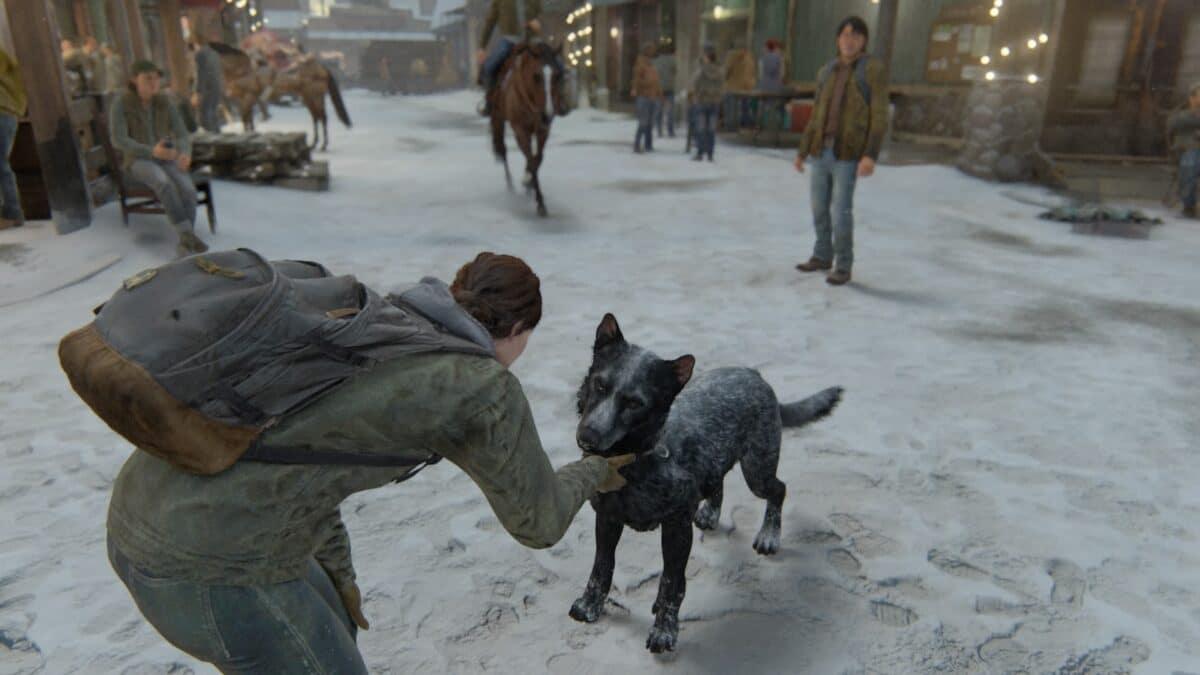 Ellie streichelt einen schwarzen Hund auf einer schneebedeckten Straße in einem Dorf