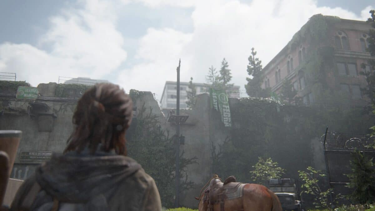 Ellie blickt auf einen Riss in einer großen Mauer in The Last of Us 2.
