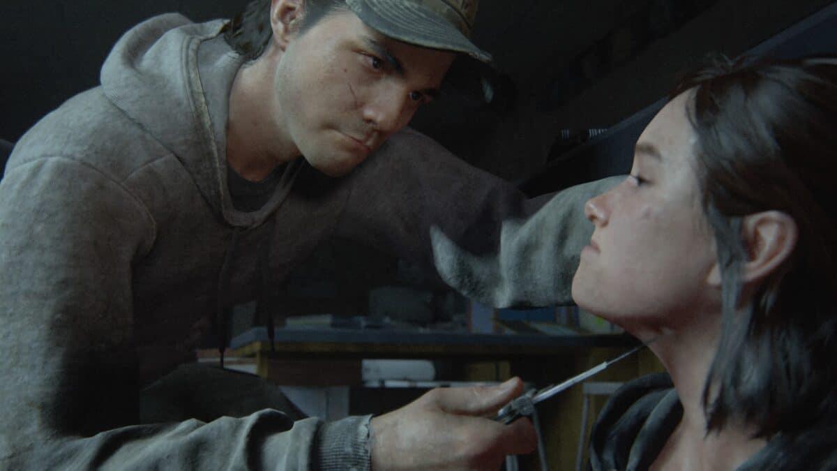 Jordan hält Ellie in The Last of Us Part 2 ein Messer an die Kehle