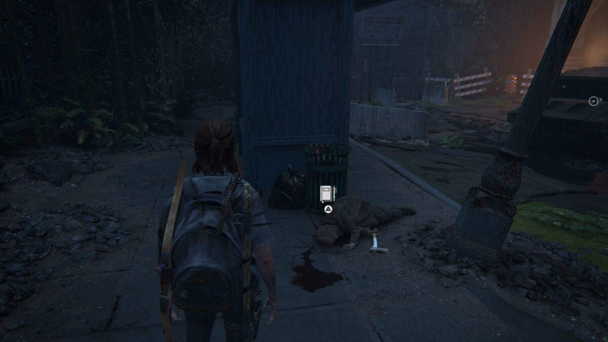 Ellie steht vor einem toten Seraphiten in The Last of Us Part 2.