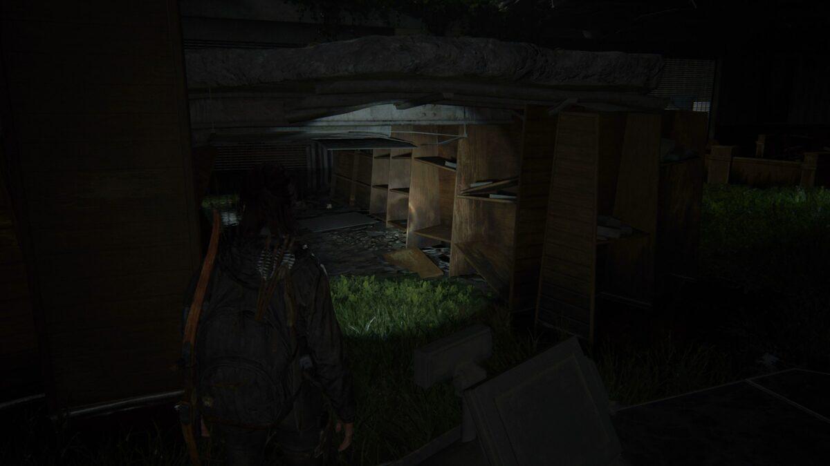 Ellie findet in The Last of Us 2 eine Sammelkarte in einem alten Regal.