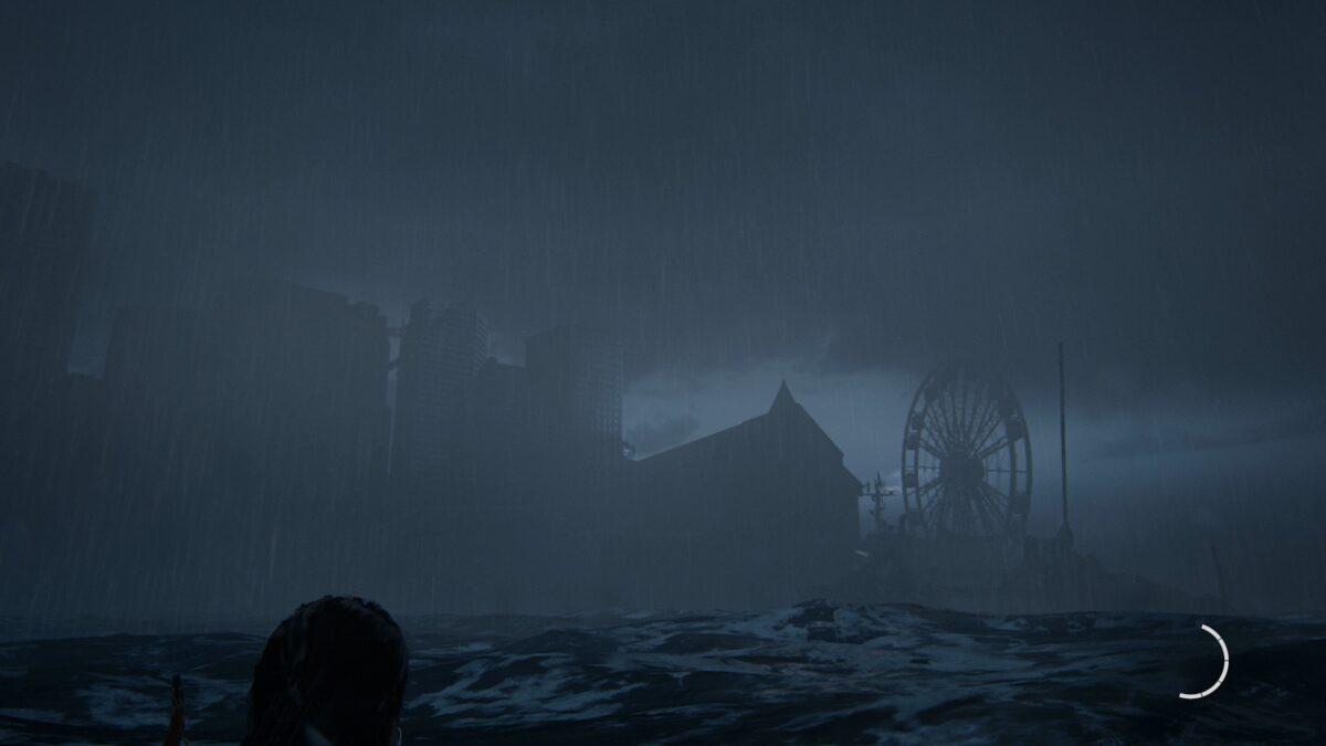 Ellie schwimmt in The Last of Us 2 auf ein Riesenrad zu.