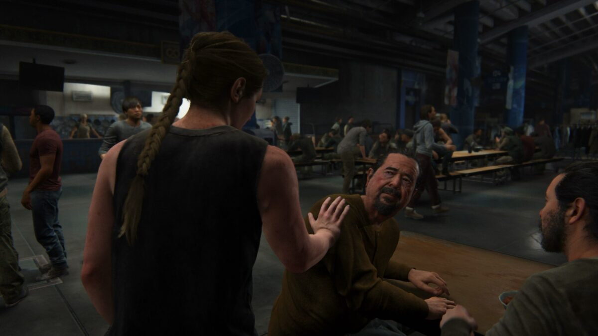 Abby trifft in The Last of Us 2 auf Mannys Dad in der Kantine des Stadions.