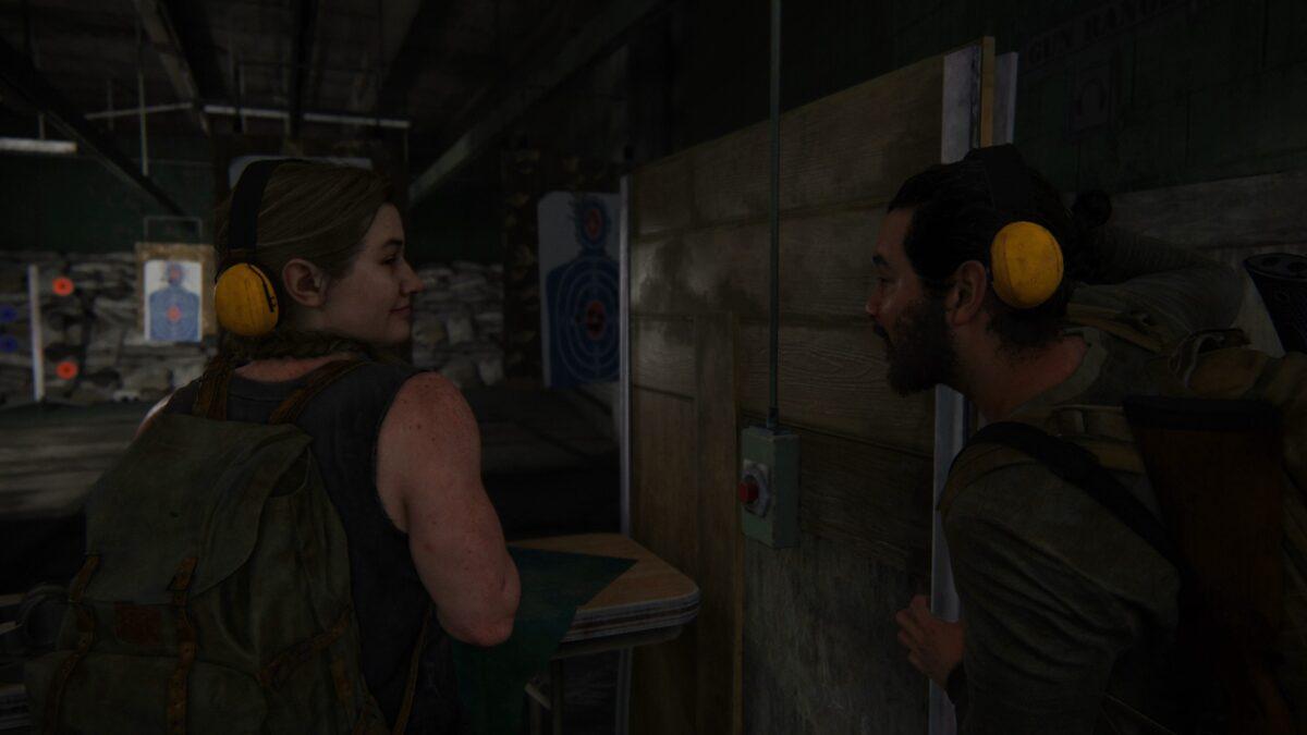 Manny kann am Schießstand in The Last of Us 2 kaum glauben, dass er verloren hat.