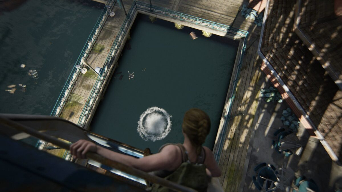 Abby steht in The Last of Us 2 am Rand einer Gondel des Riesenrads.