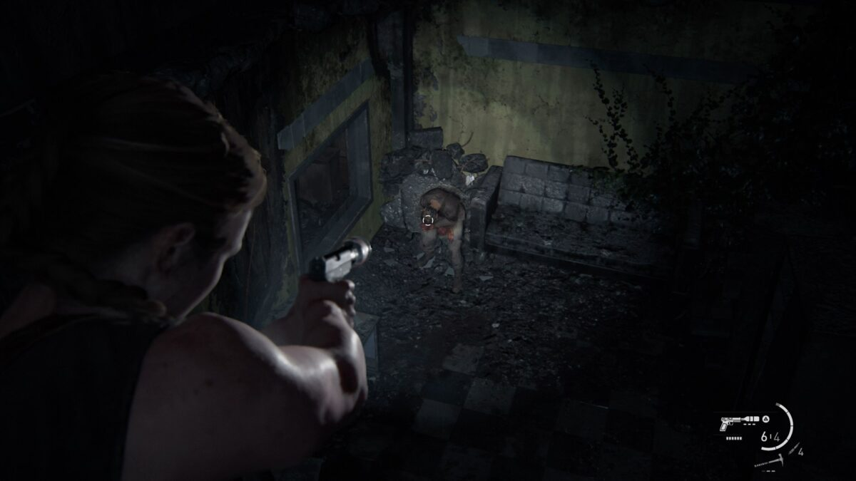 Abby zielt in The Last of Us 2 auf einen Runner.