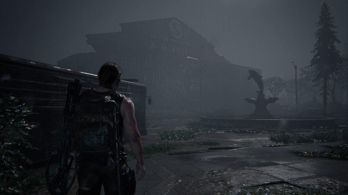 Abby steht in The Last of Us 2 vor dem Aquarium, in dem sie Owen vermutet.