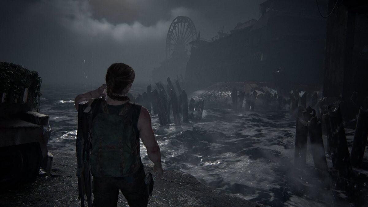 Abby steht in The Last of Us 2 vor einer unruhigen Bucht.
