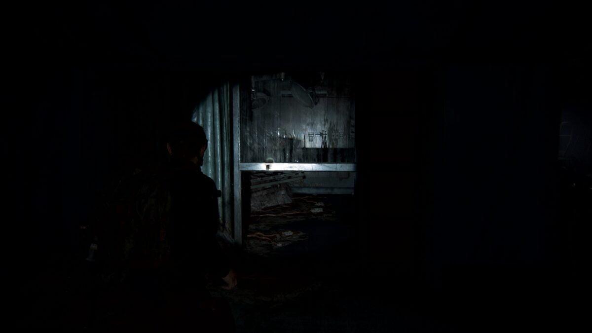 """Abby steht in The Last of Us 2 vor dem Fundort des Artefakts """"Patienten-Notiz""""."""